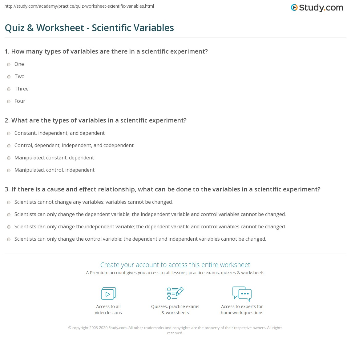 worksheet Experimental Variables Worksheet quiz worksheet scientific variables study com print what are in science definition types examples worksheet