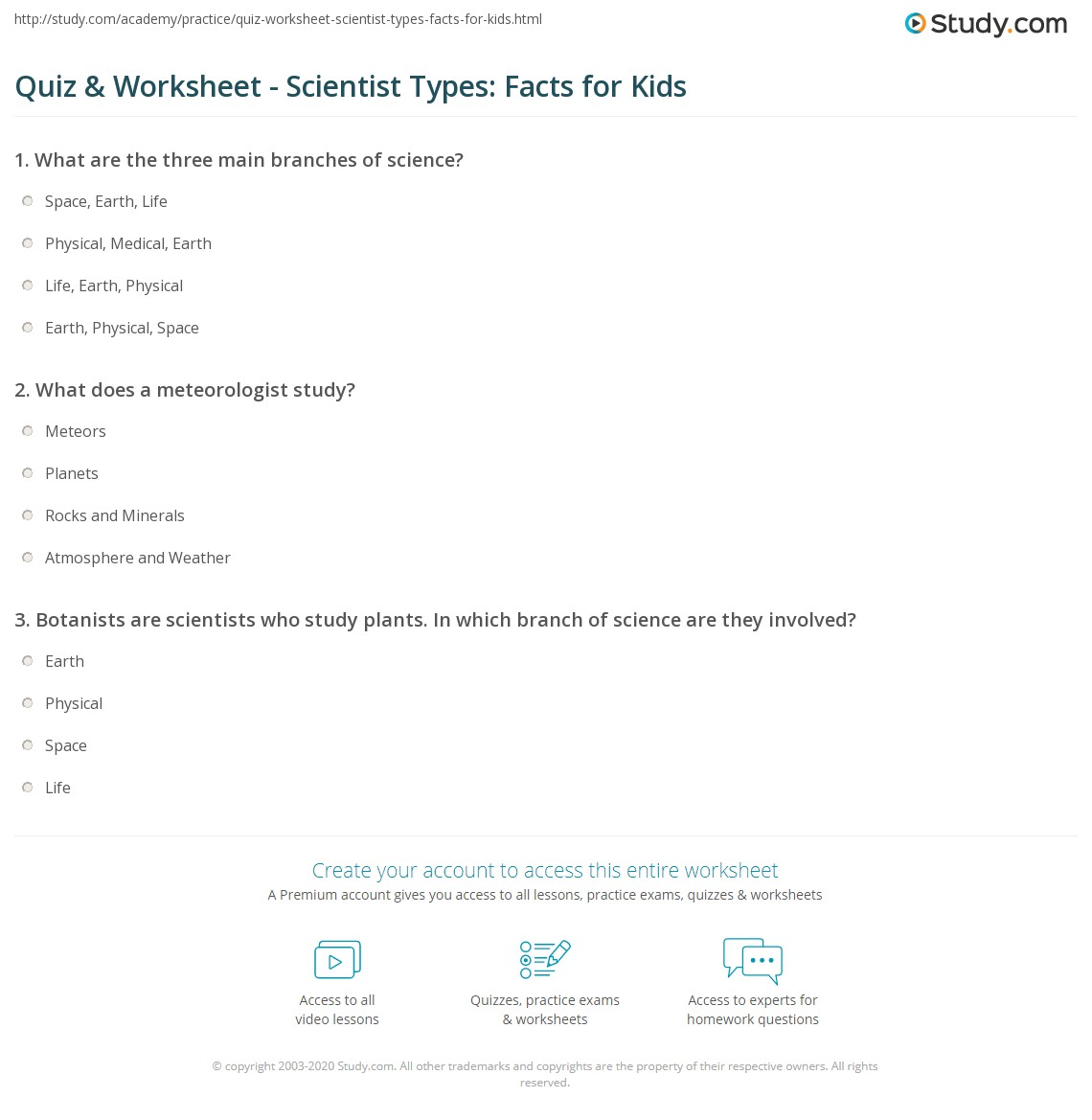 Quiz & Worksheet - Scientist Types: Facts for Kids | Study.com