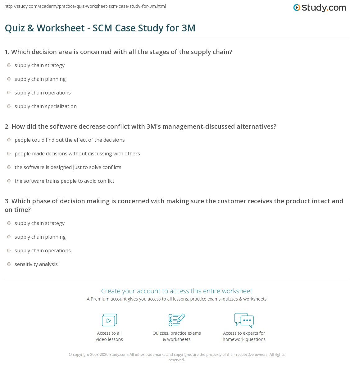 Quiz & Worksheet - SCM Case Study for 3M | Study.com