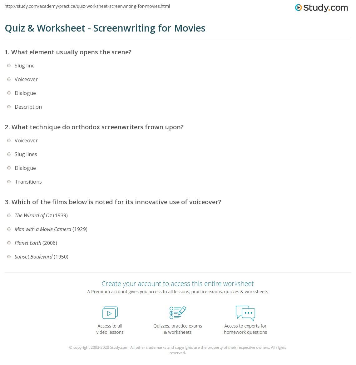 quiz worksheet screenwriting for movies study com
