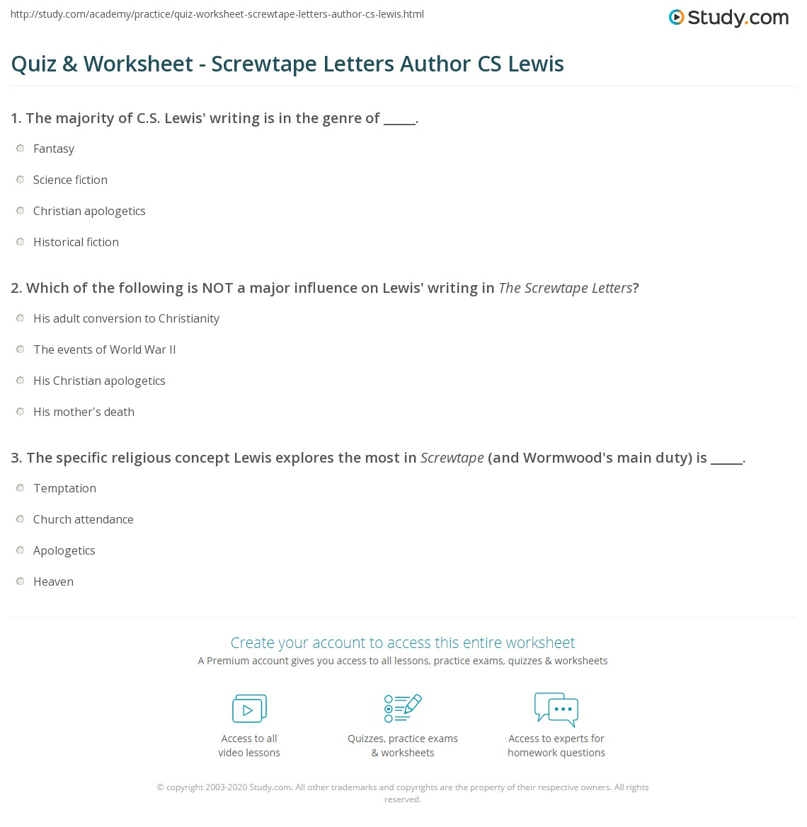 Print Who Wrote The Screwtape Letters? About Cs Lewis Worksheet Quiz &  Worksheet Screwtape Letters