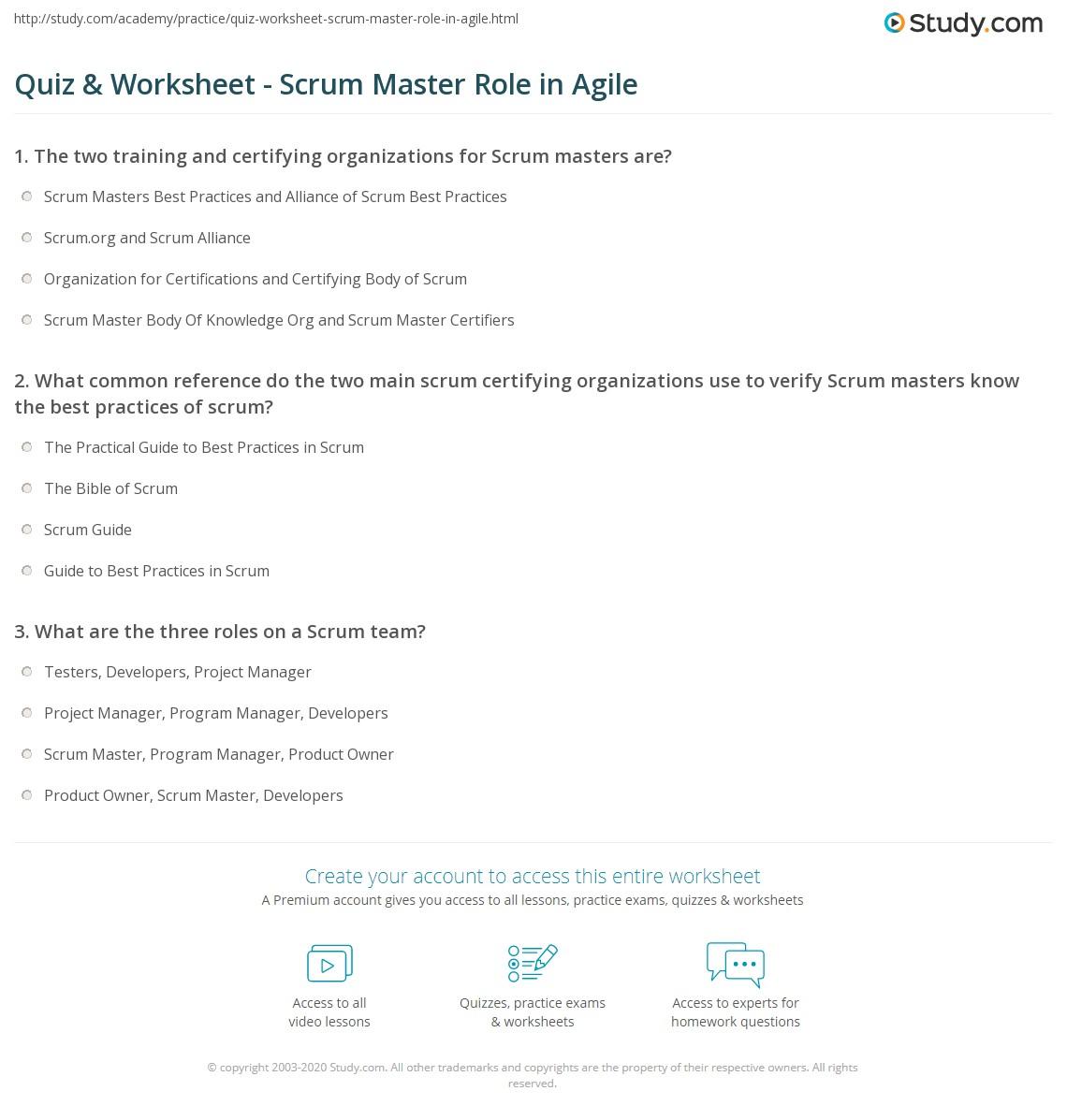 Quiz & Worksheet - Scrum Master Role In Agile