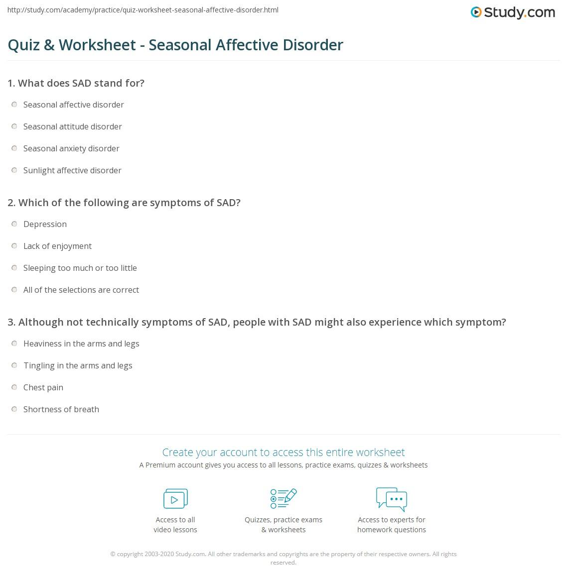 quiz & worksheet - seasonal affective disorder | study