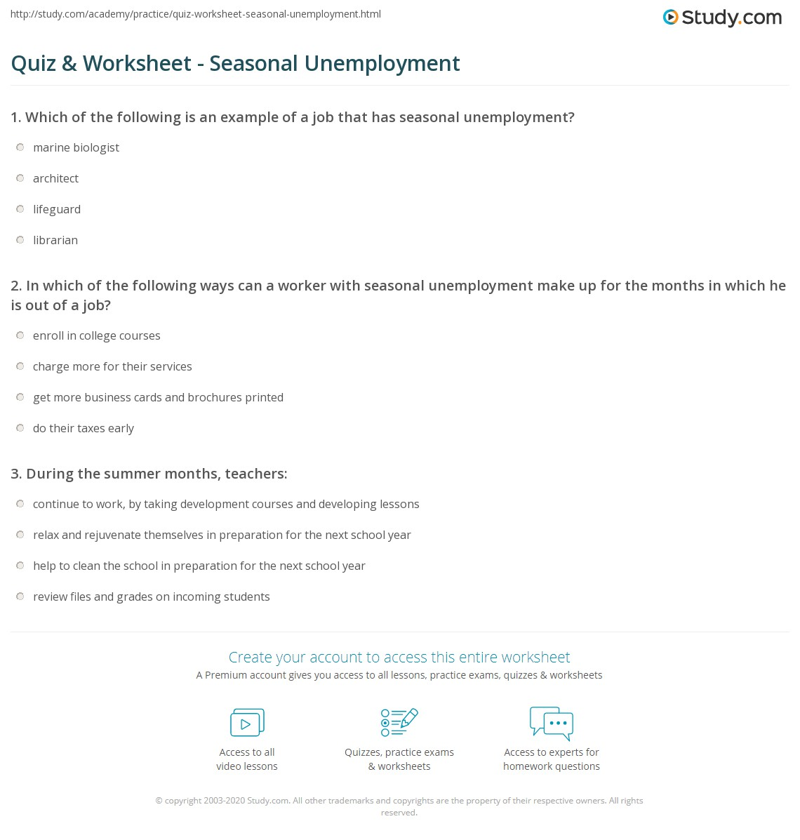 quiz worksheet seasonal unemployment. Black Bedroom Furniture Sets. Home Design Ideas