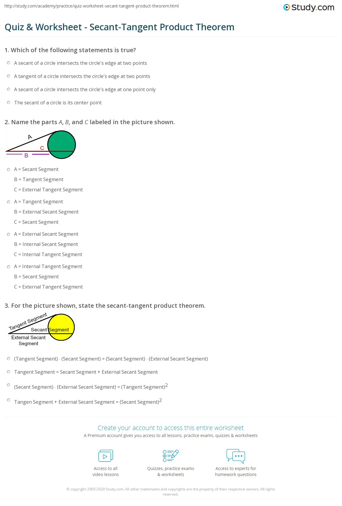 Quiz Worksheet Secant Tangent Product Theorem Study