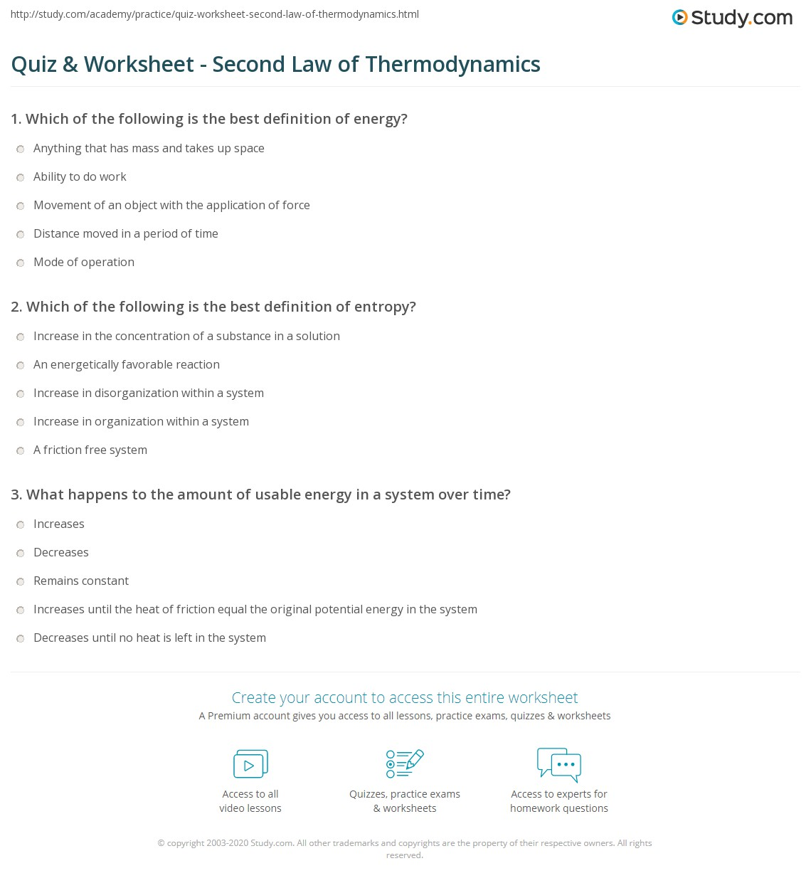 quiz worksheet second law of thermodynamics study com