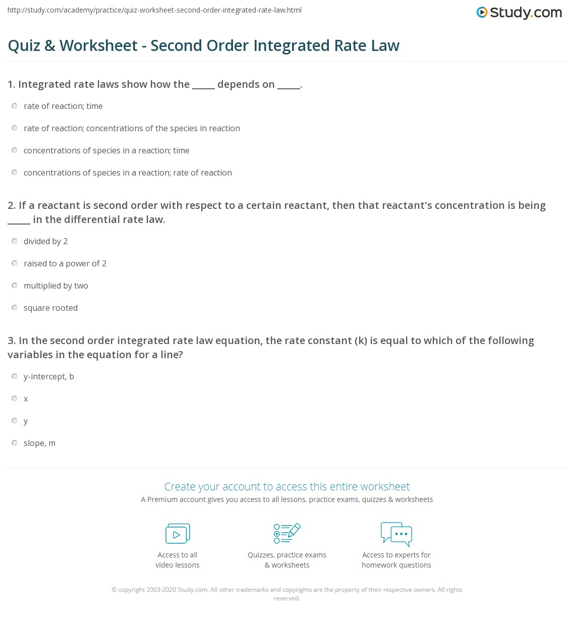 quiz worksheet second order integrated rate law. Black Bedroom Furniture Sets. Home Design Ideas