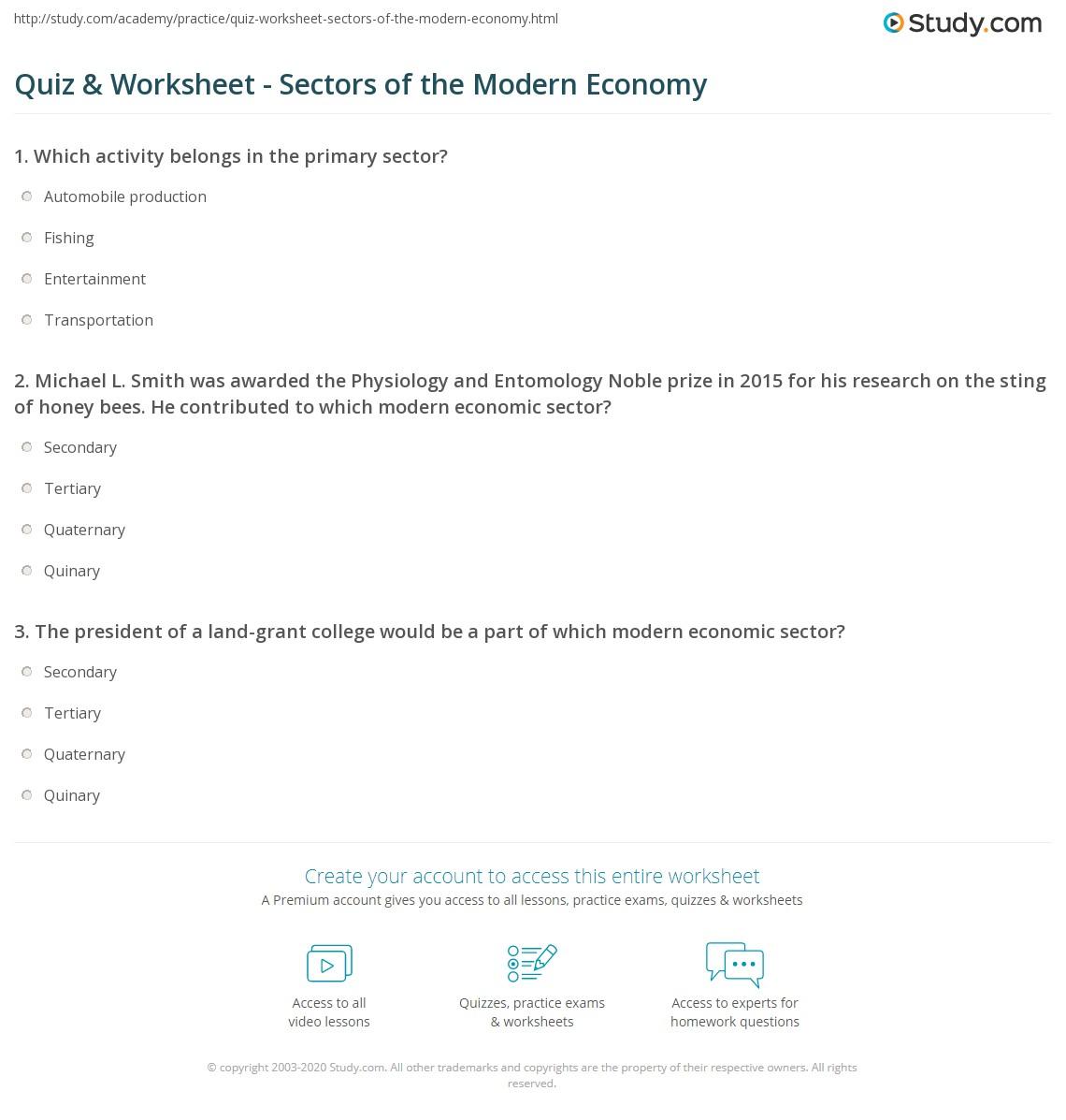 Primary secondary tertiary economic activities worksheet