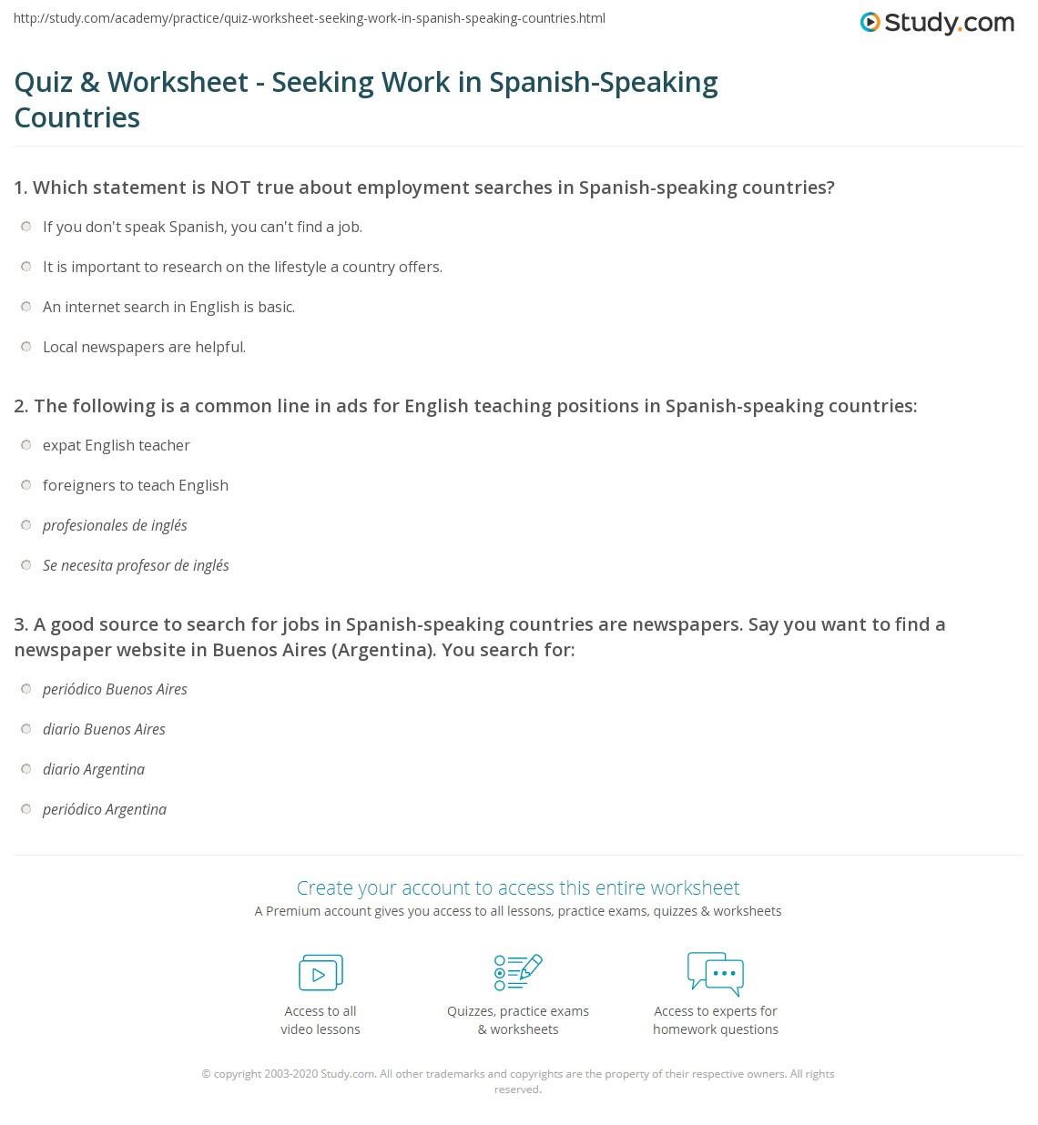 Quiz & Worksheet - Seeking Work in Spanish-Speaking Countries ...