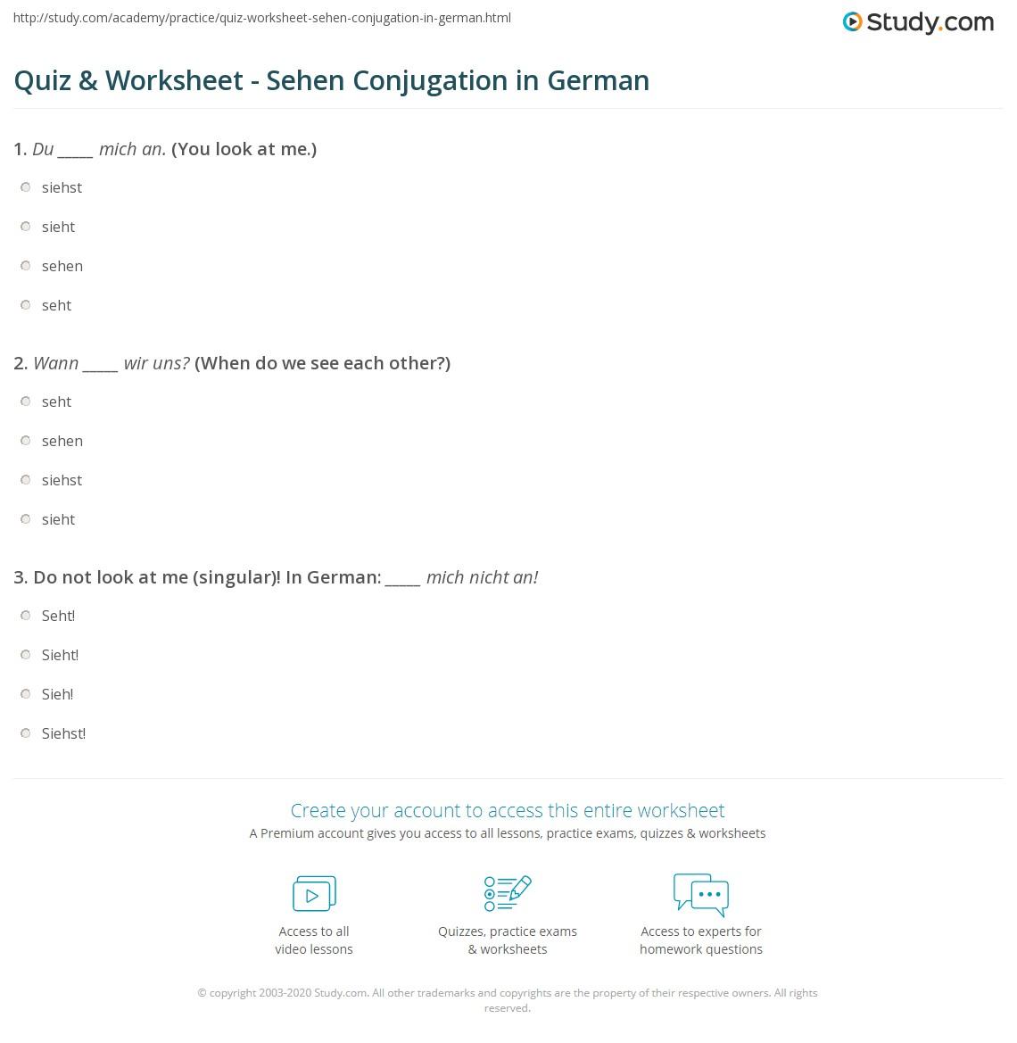 quiz worksheet sehen conjugation in german. Black Bedroom Furniture Sets. Home Design Ideas