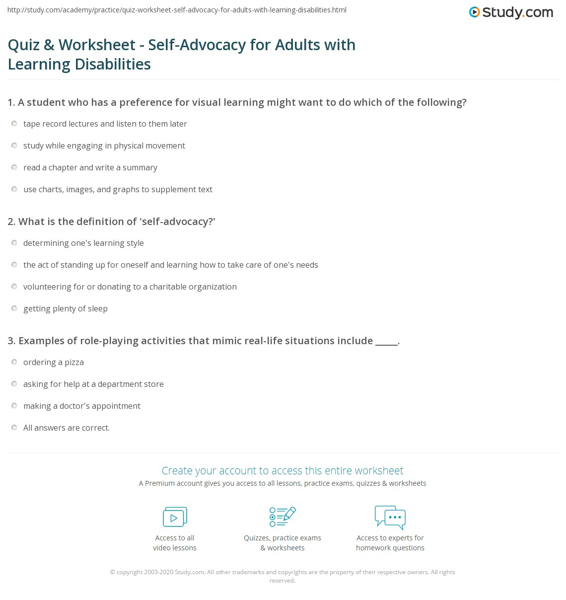 Quiz & Worksheet - Self-Advocacy for Adults with Learning ...