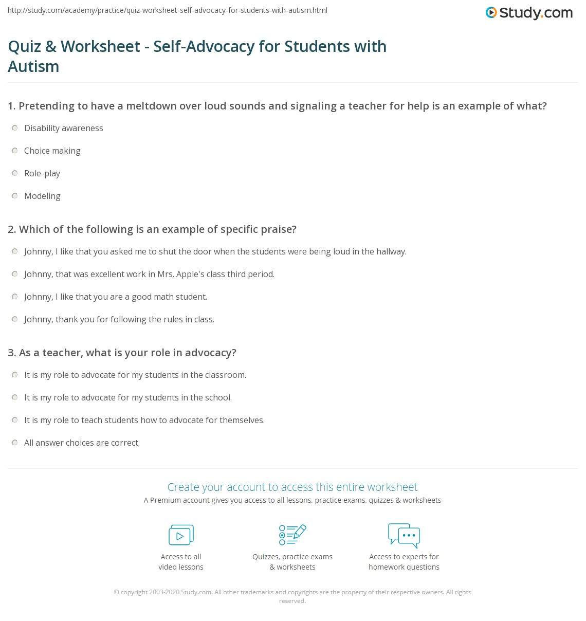 Quiz & Worksheet - Self-Advocacy for Students with Autism | Study.com