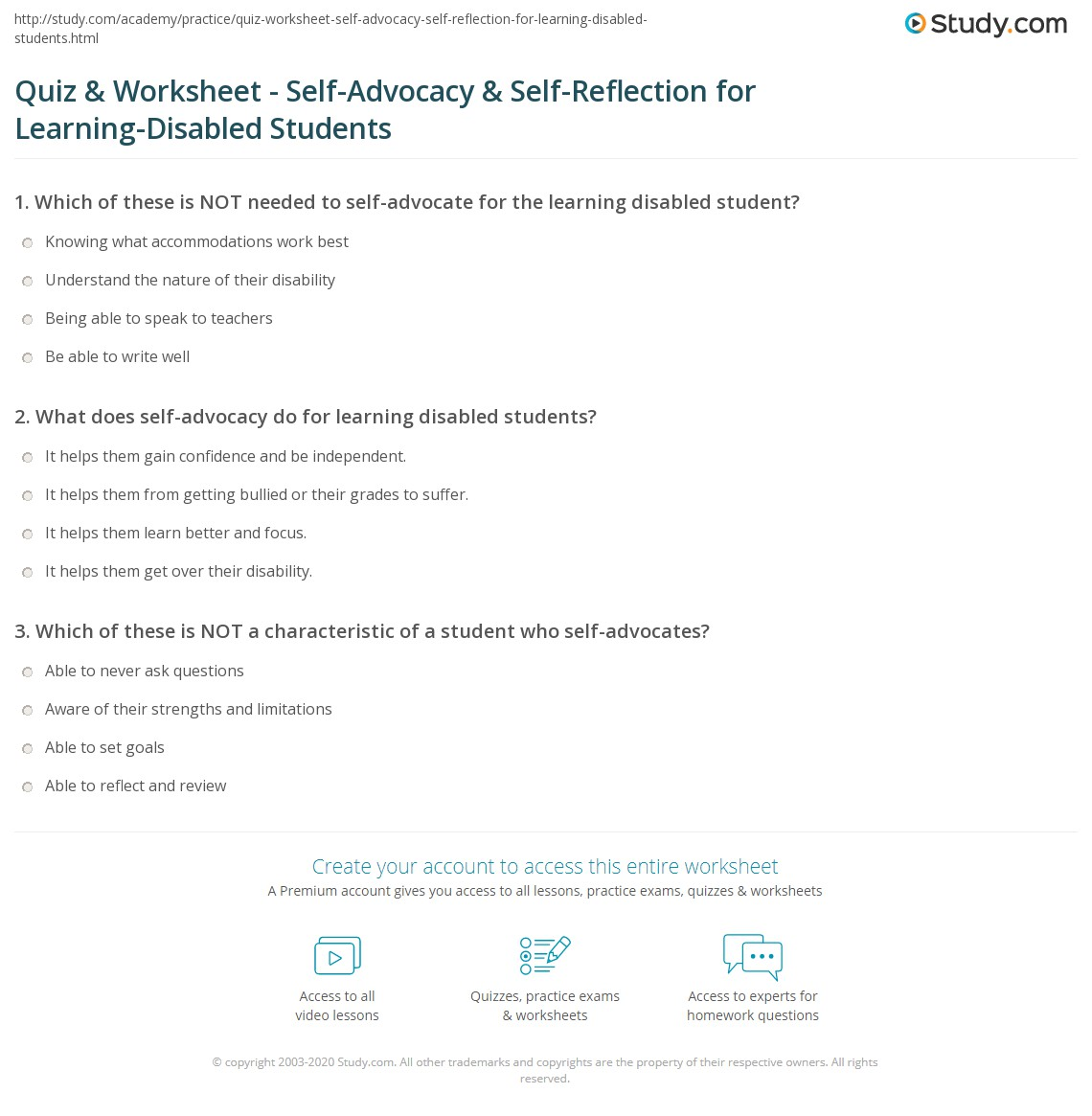 Quiz & Worksheet - Self-Advocacy & Self-Reflection for Learning