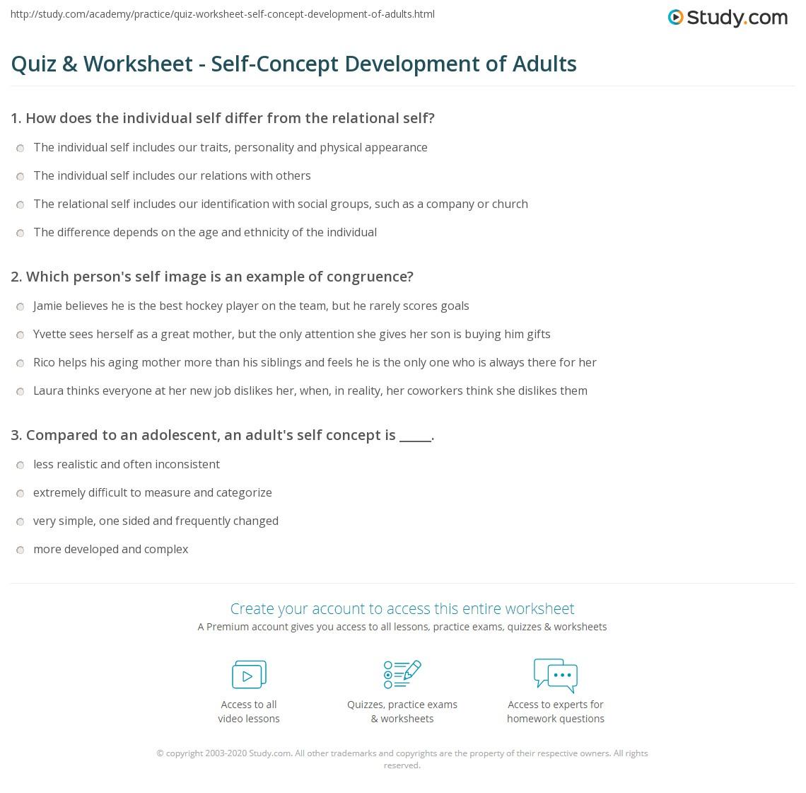 Quiz & Worksheet - Self-Concept Development of Adults | Study.com