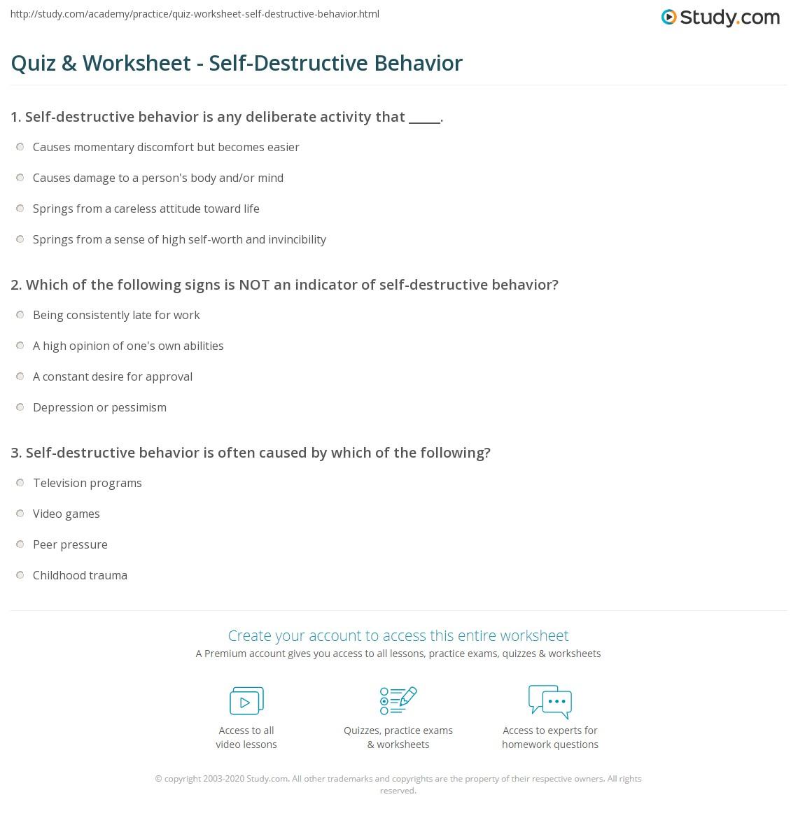 Self destructive behaviour definition