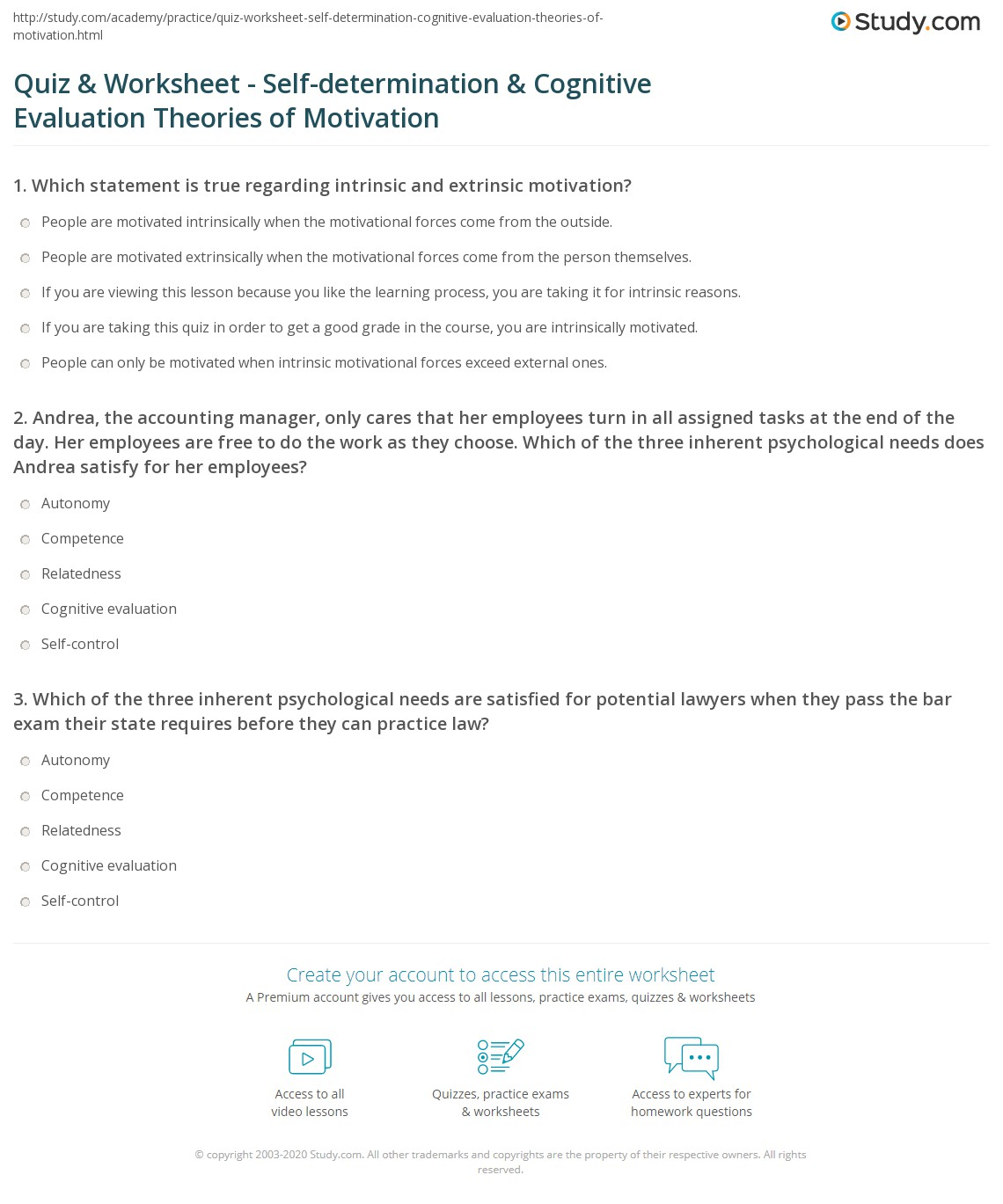 Quiz & Worksheet - Self-determination & Cognitive Evaluation Theories ...