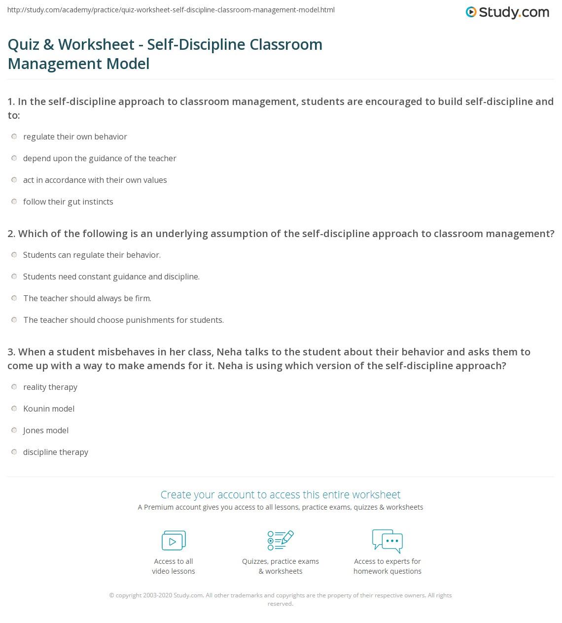 A Values Based Approach To Discipline >> Quiz Worksheet Self Discipline Classroom Management Model