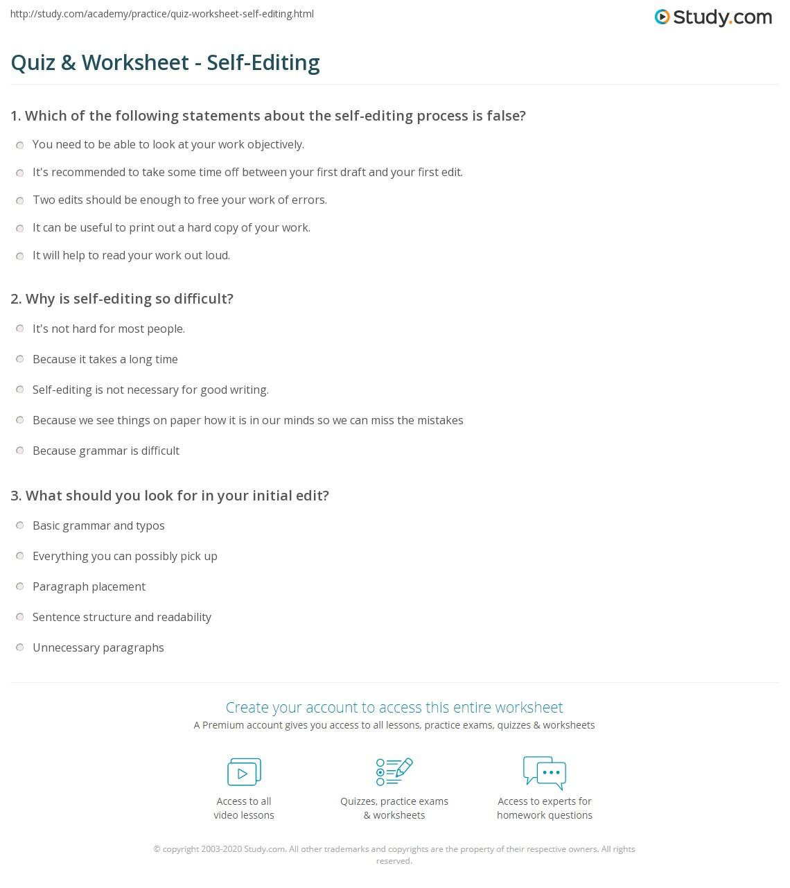 Worksheets Grammar Editing Worksheets quiz worksheet self editing study com print definition concept worksheet