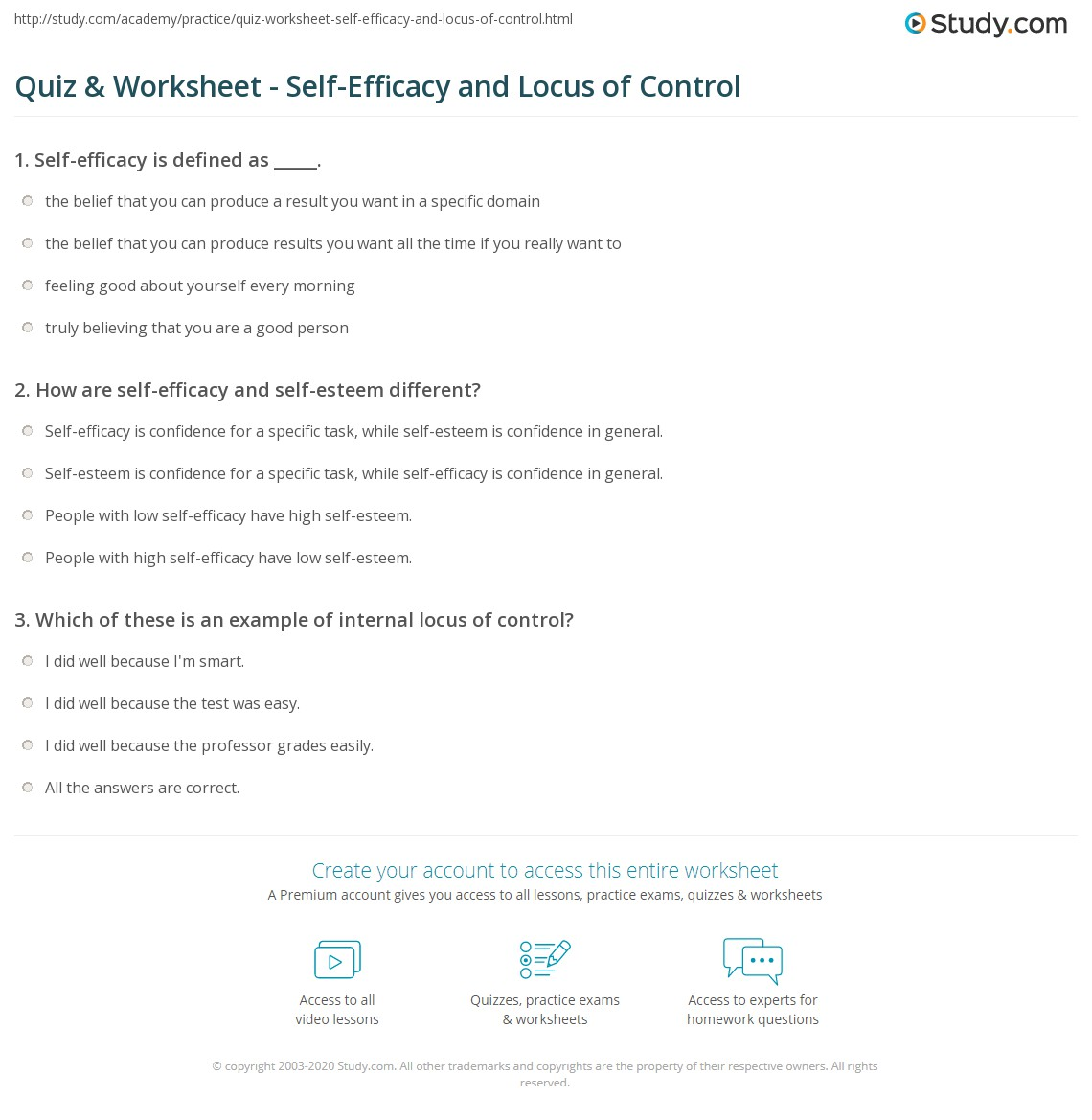 Quiz & Worksheet - Self-Efficacy and Locus of Control | Study.com