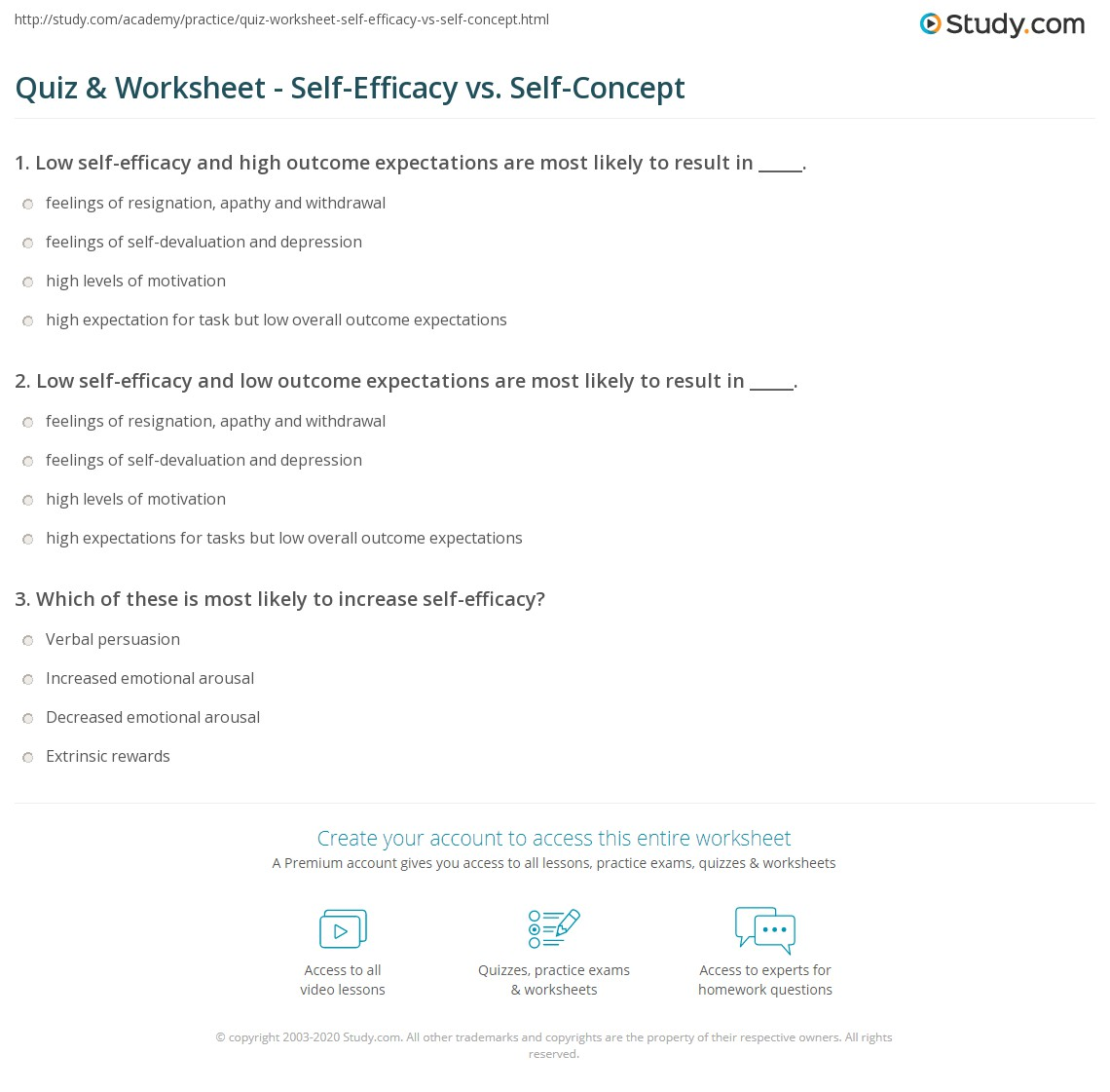 Low self-efficacy and low outcome expectations are most likely to ...