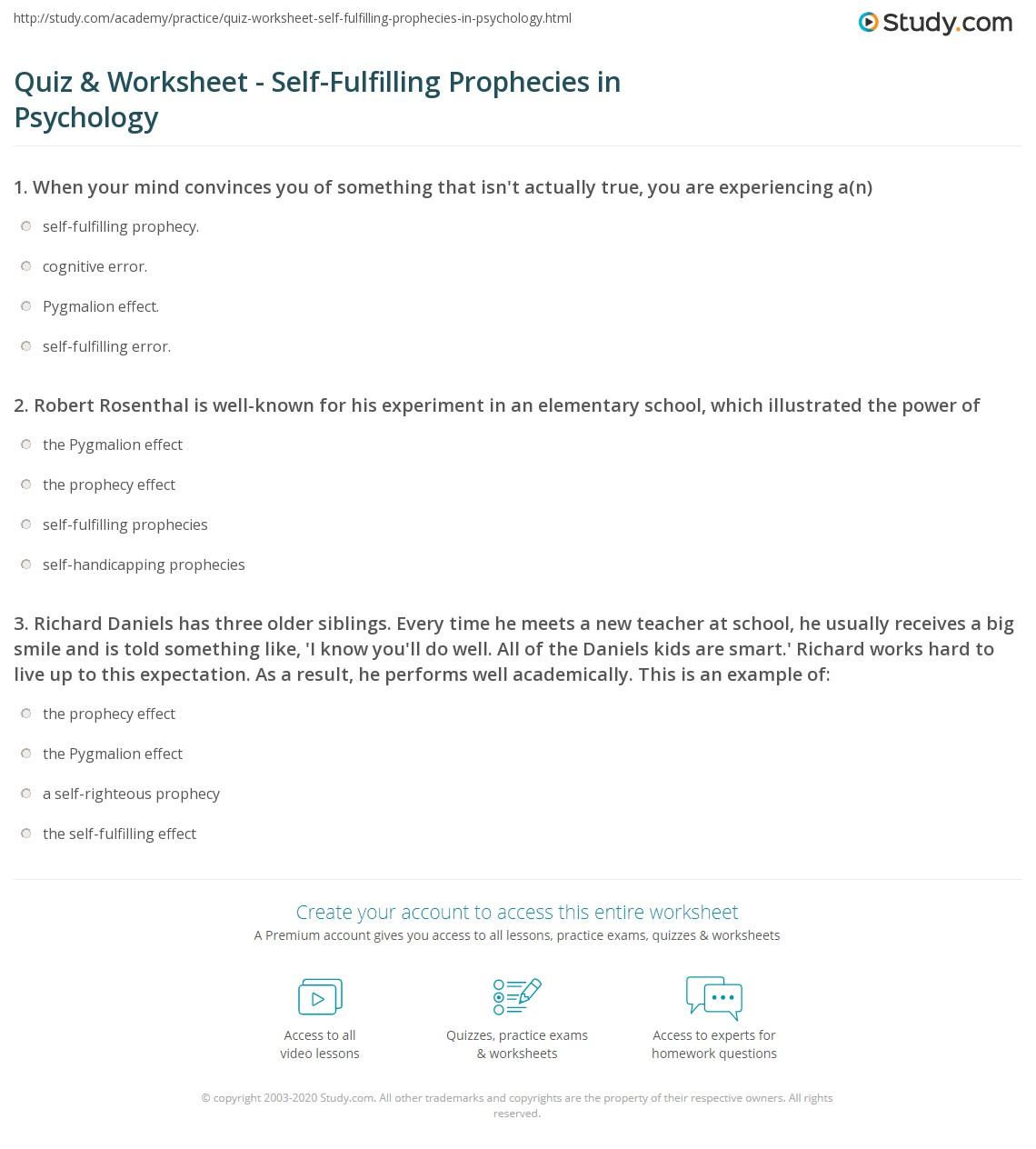 Quiz Worksheet Self Fulfilling Prophecies In Psychology Study