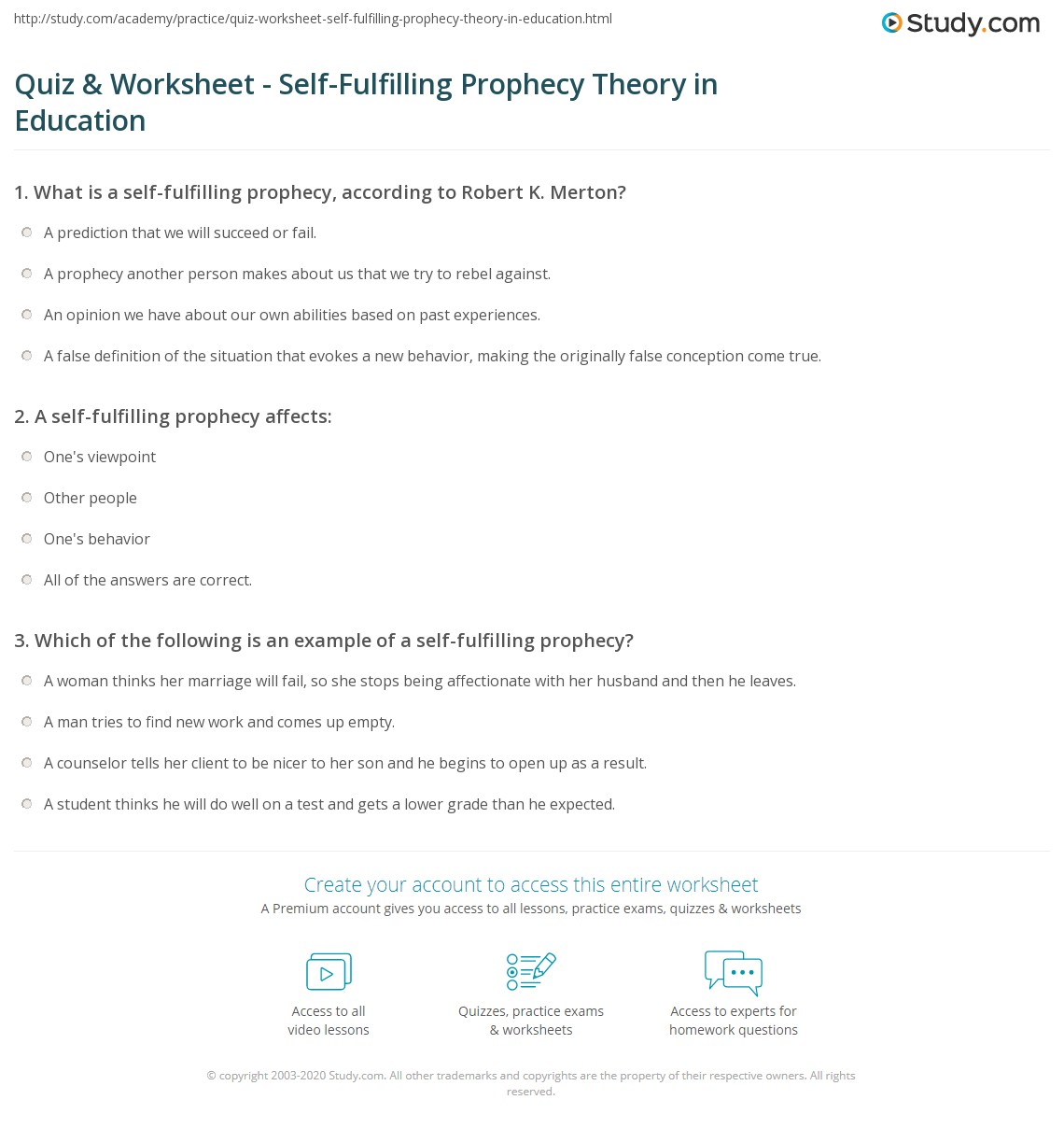 Quiz Worksheet SelfFulfilling Prophecy Theory in Education – Then and Than Worksheet