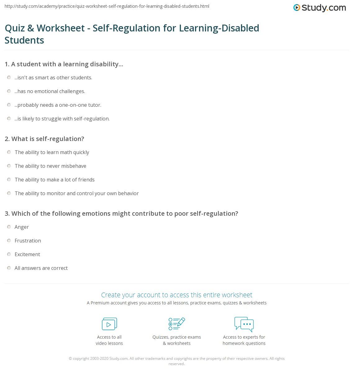 Quiz & Worksheet - Self-Regulation for Learning-Disabled