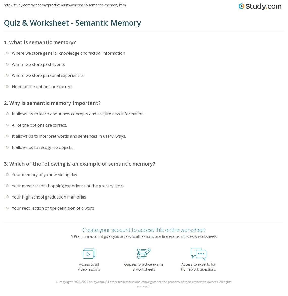 Quiz Worksheet Semantic Memory Study
