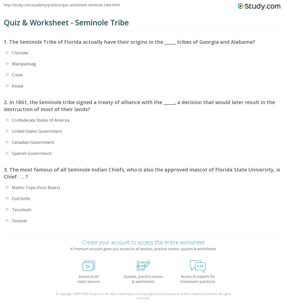 Quiz Worksheet Seminole Tribe Study