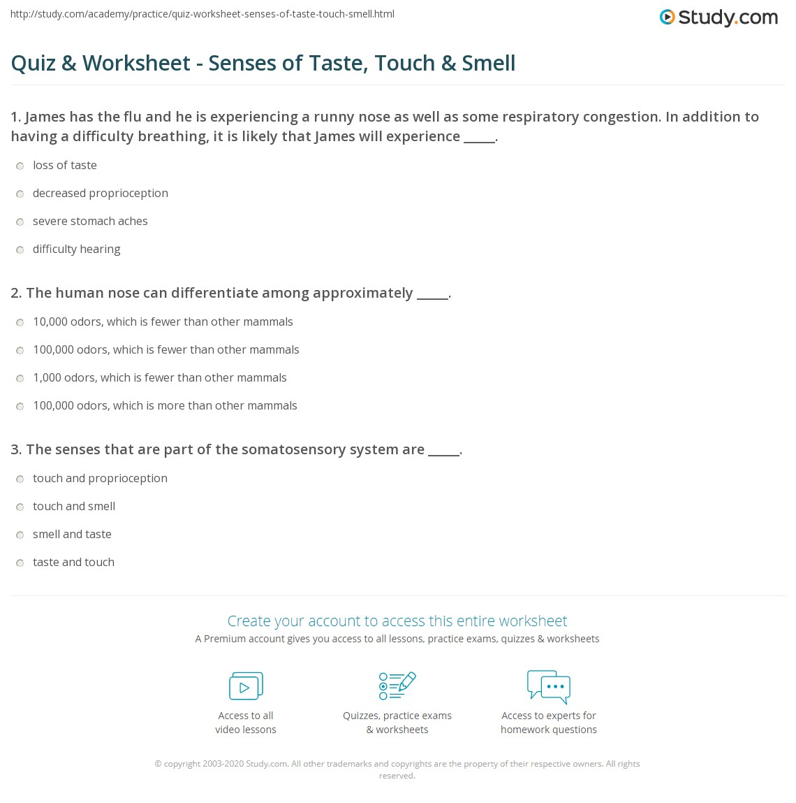worksheet Taste And Smell Worksheet quiz worksheet senses of taste touch smell study com print proprioception the somatosensory system worksheet