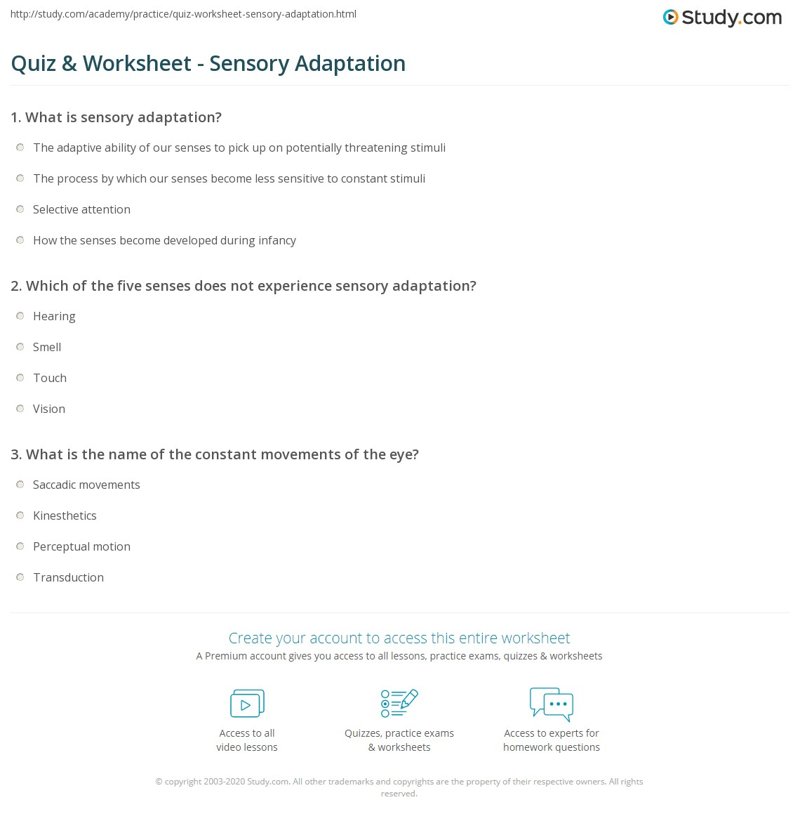 what is sensory adaptation give an example