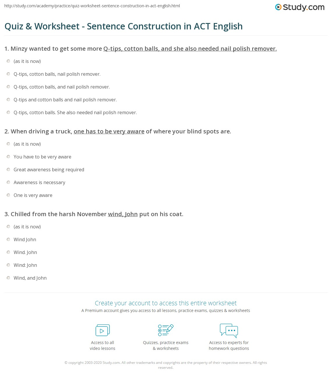 Print ACT English Practice: Sentence Construction Worksheet