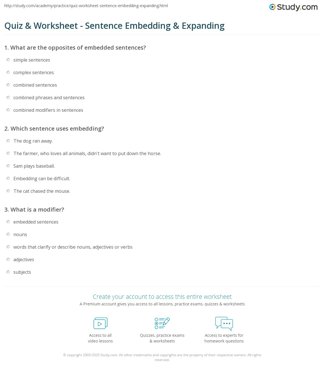 worksheet Expanding Sentences Worksheet quiz worksheet sentence embedding expanding study com print worksheet