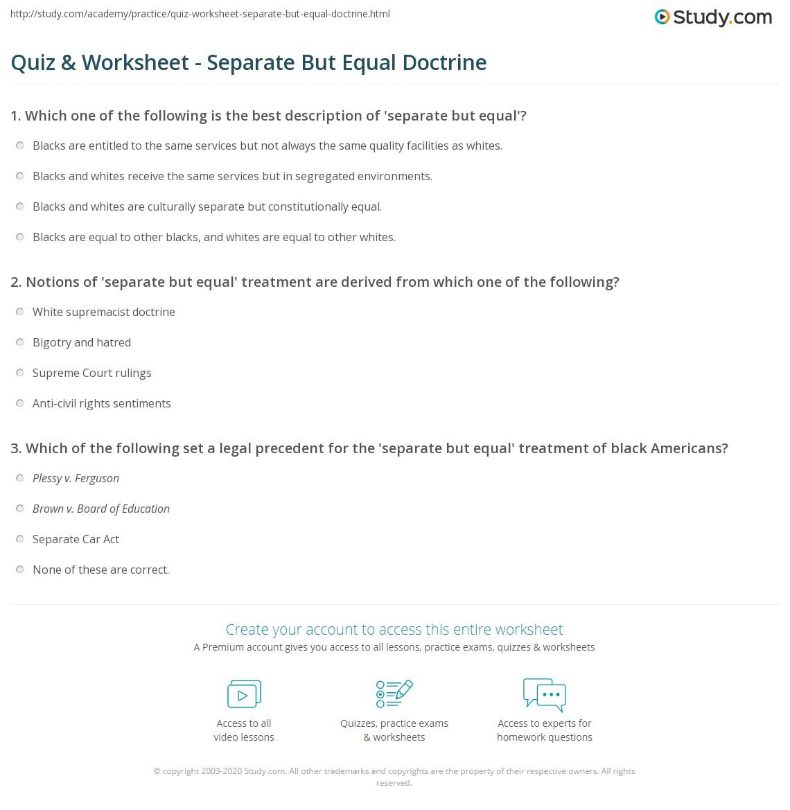 Quiz & Worksheet - Separate But Equal Doctrine | Study com