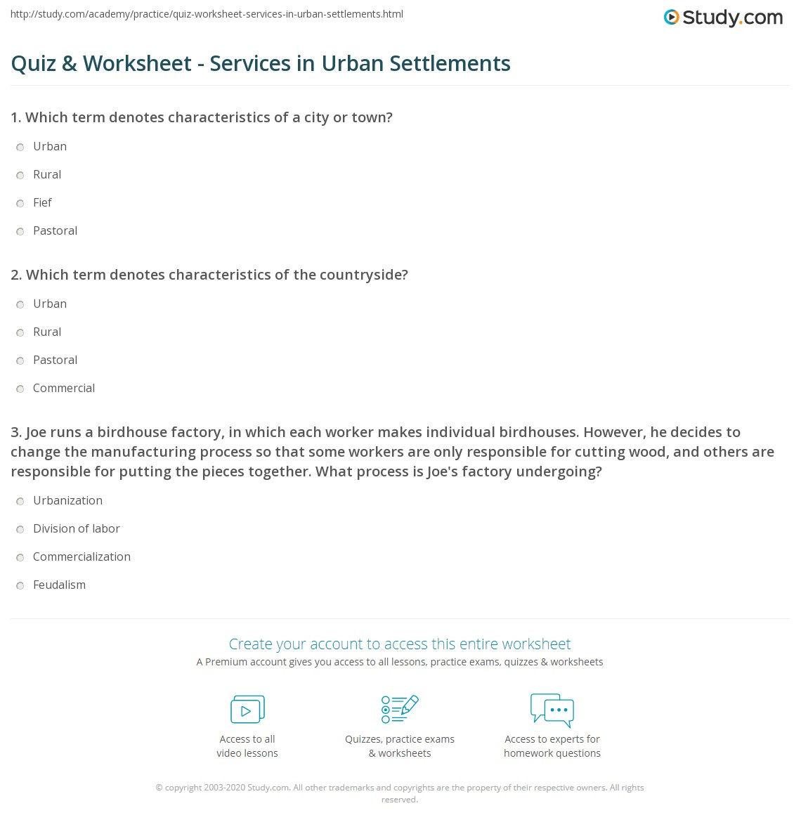 quiz worksheet services in urban settlements