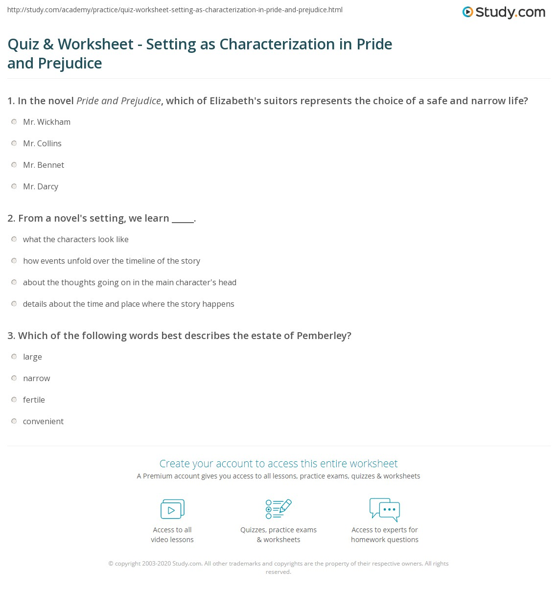 Free Worksheet Characterization Worksheet quiz worksheet setting as characterization in pride and print prejudice worksheet