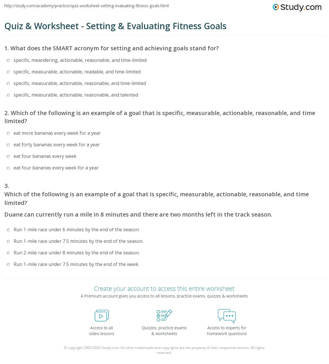 Worksheets Fitness Goals Worksheet quiz worksheet setting evaluating fitness goals study com print how to establish monitor worksheet