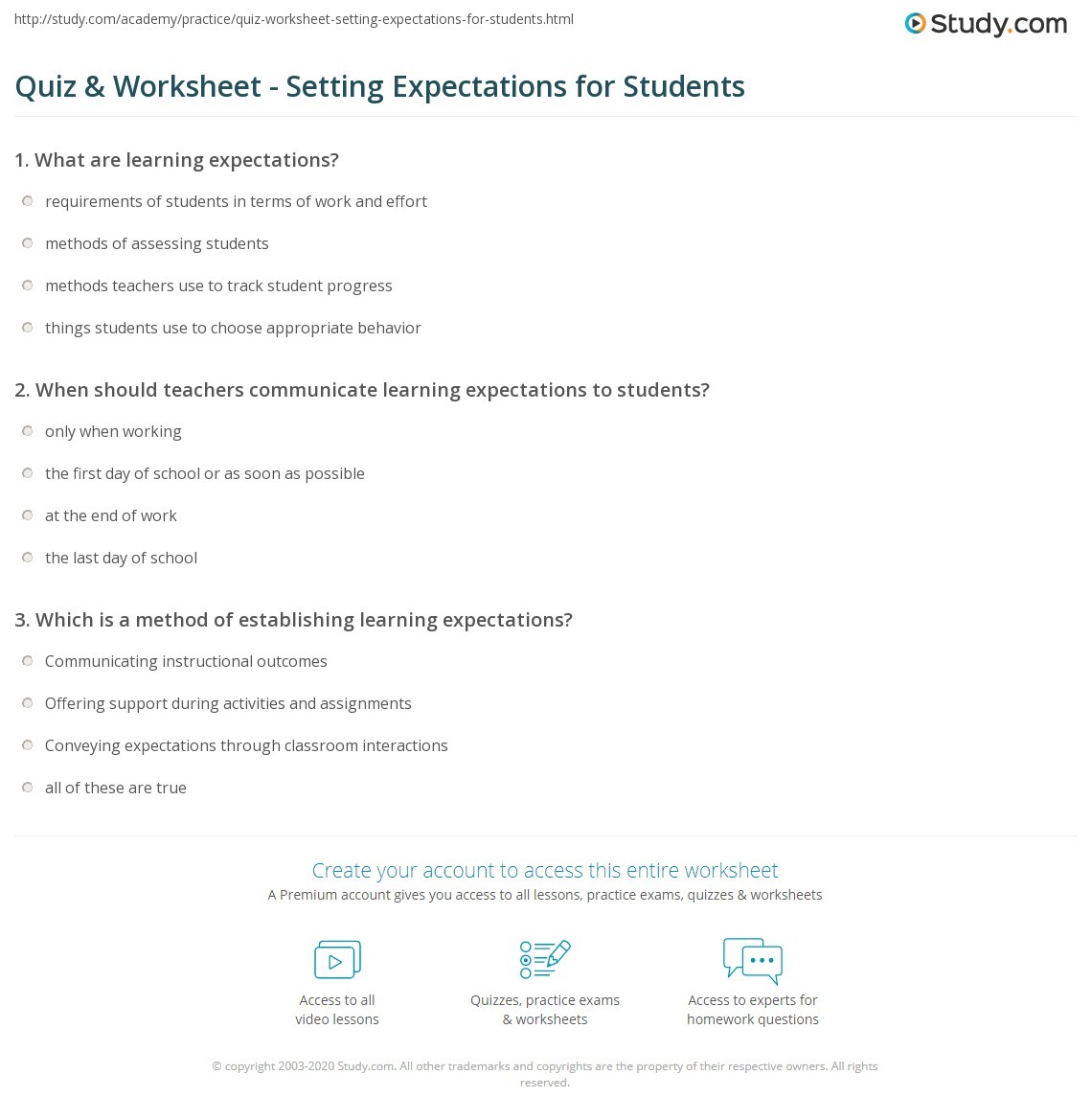 Quiz & Worksheet - Setting Expectations for Students | Study.com