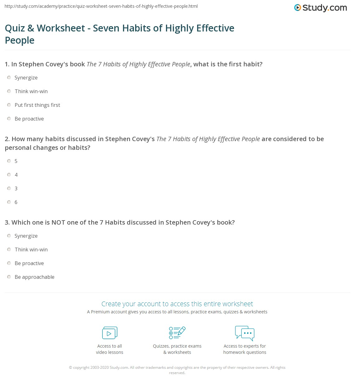 Quiz & Worksheet - Seven Habits of Highly Effective People | Study.com