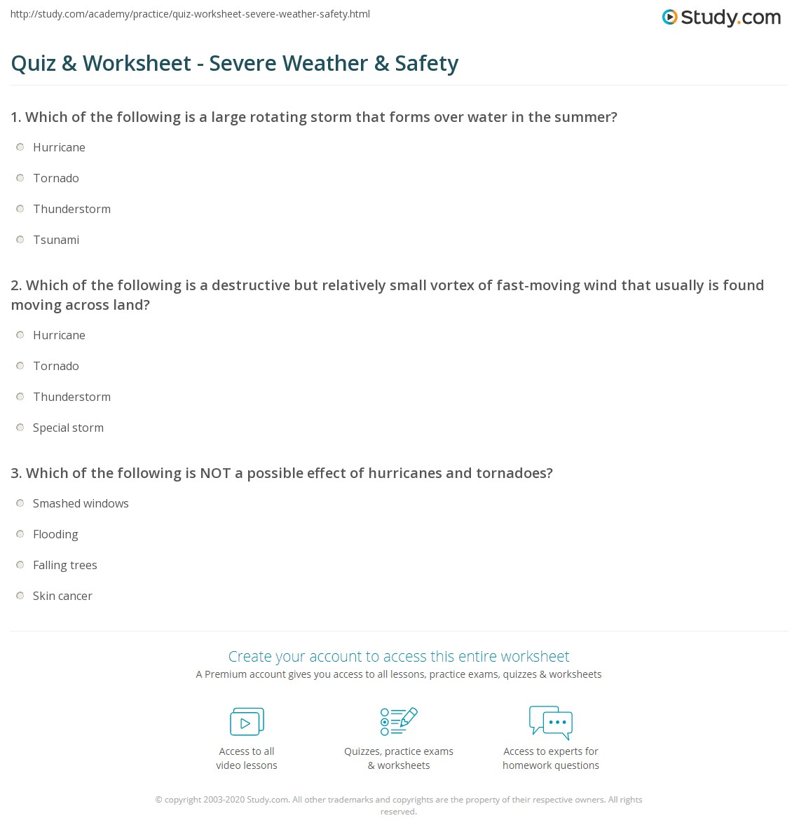 Quiz Worksheet Severe Weather Safety – Safety Worksheets