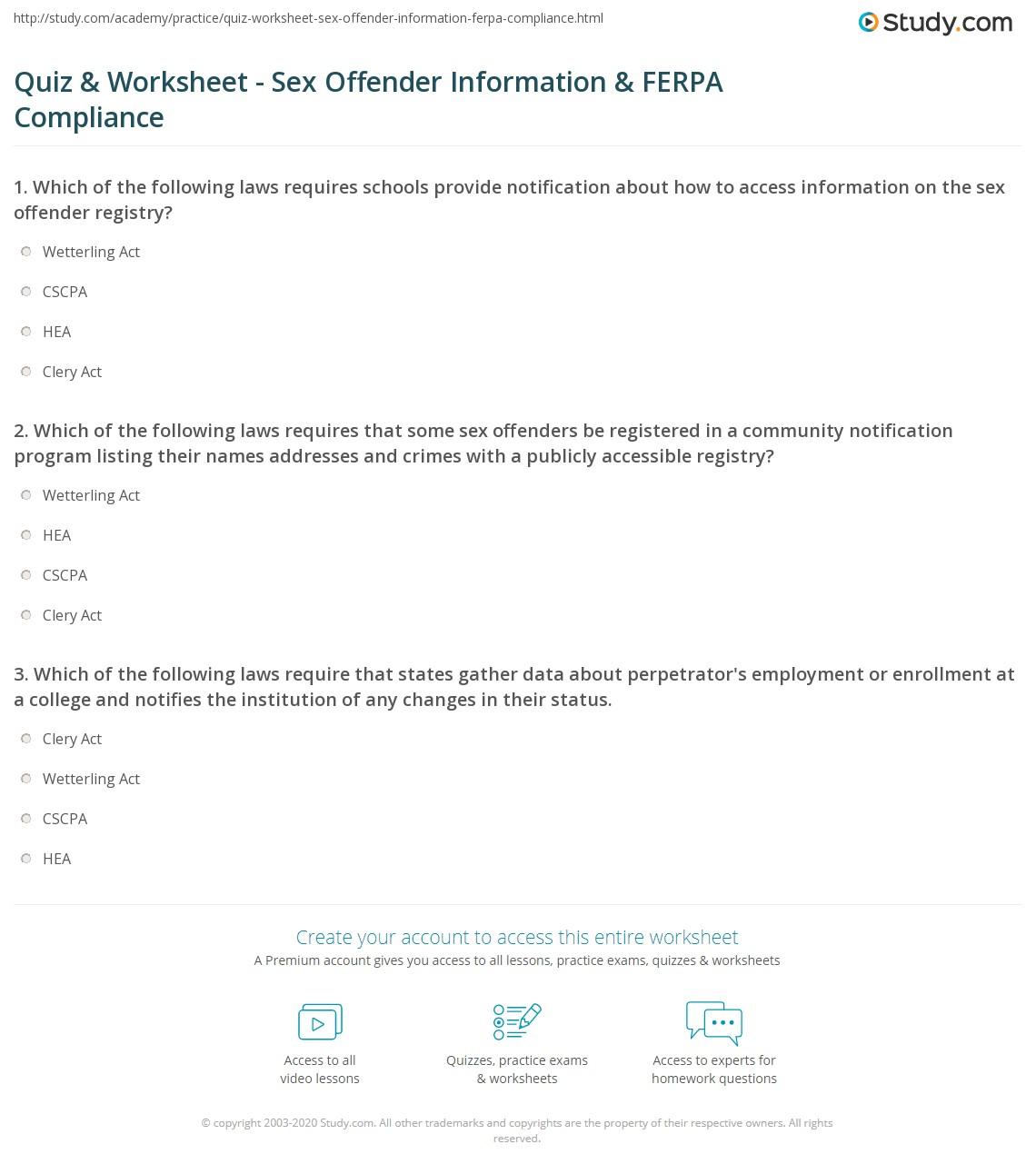 Quiz Worksheet Sex Offender Information Ferpa Compliance