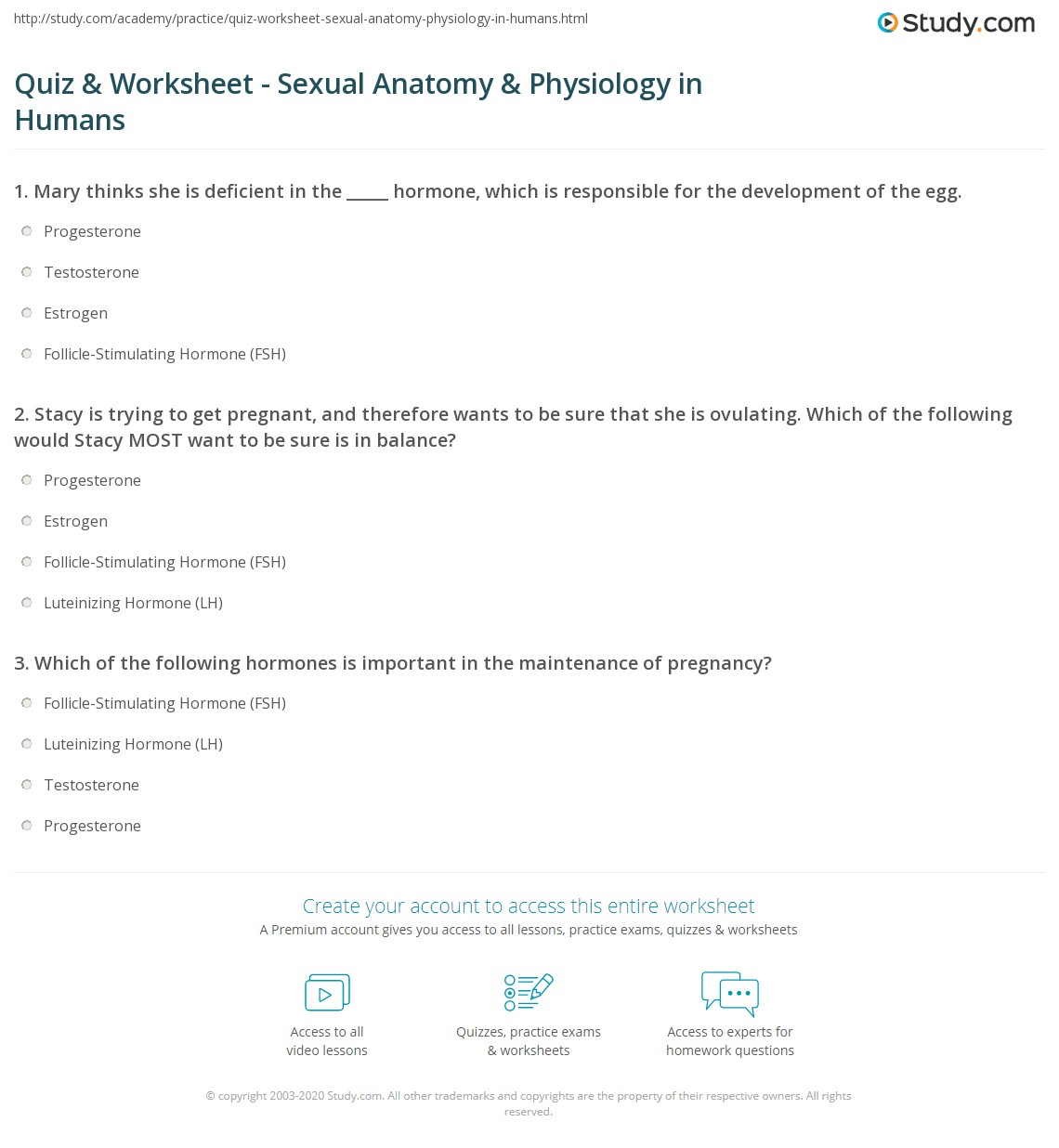 Quiz & Worksheet - Sexual Anatomy & Physiology in Humans | Study.com