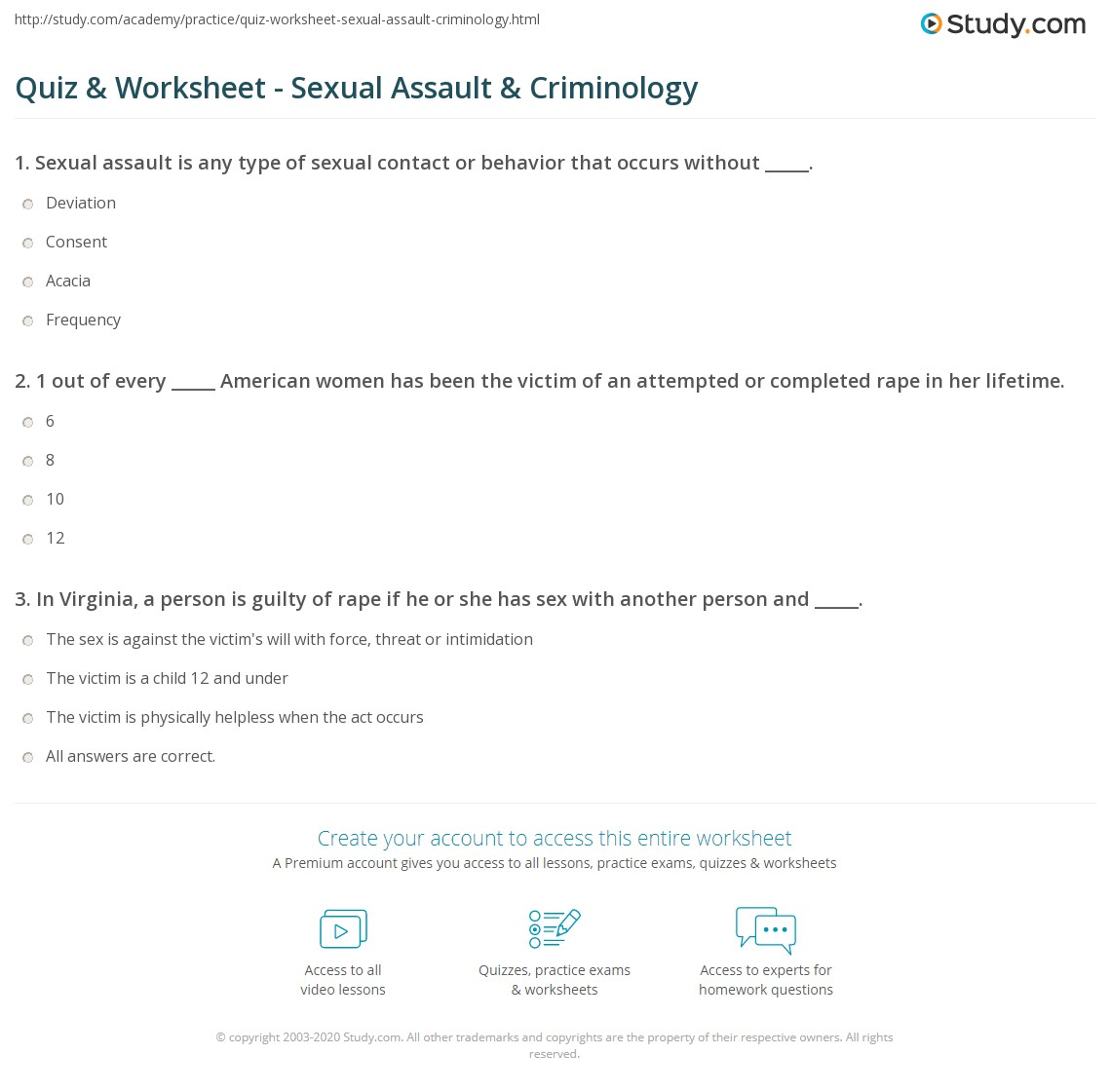picture regarding Restorative Justice Printable Worksheets named Quiz Worksheet - Sexual Attack Criminology