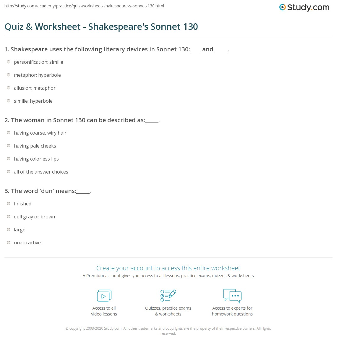 quiz worksheet shakespeare 39 s sonnet 130. Black Bedroom Furniture Sets. Home Design Ideas