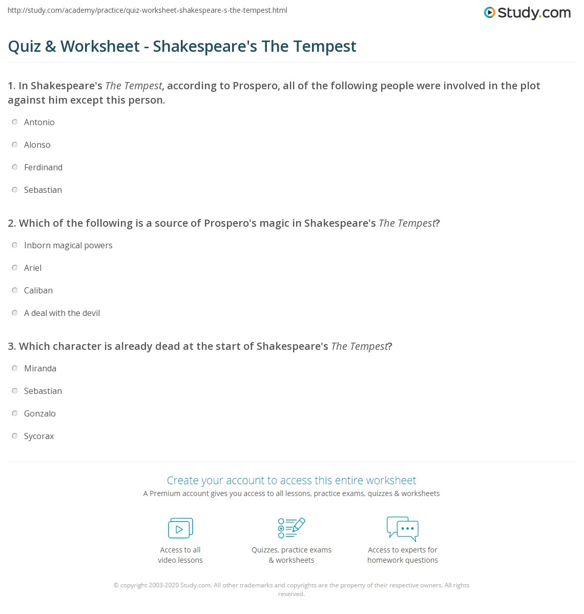 Quiz Worksheet Shakespeare S The Tempest Study Com