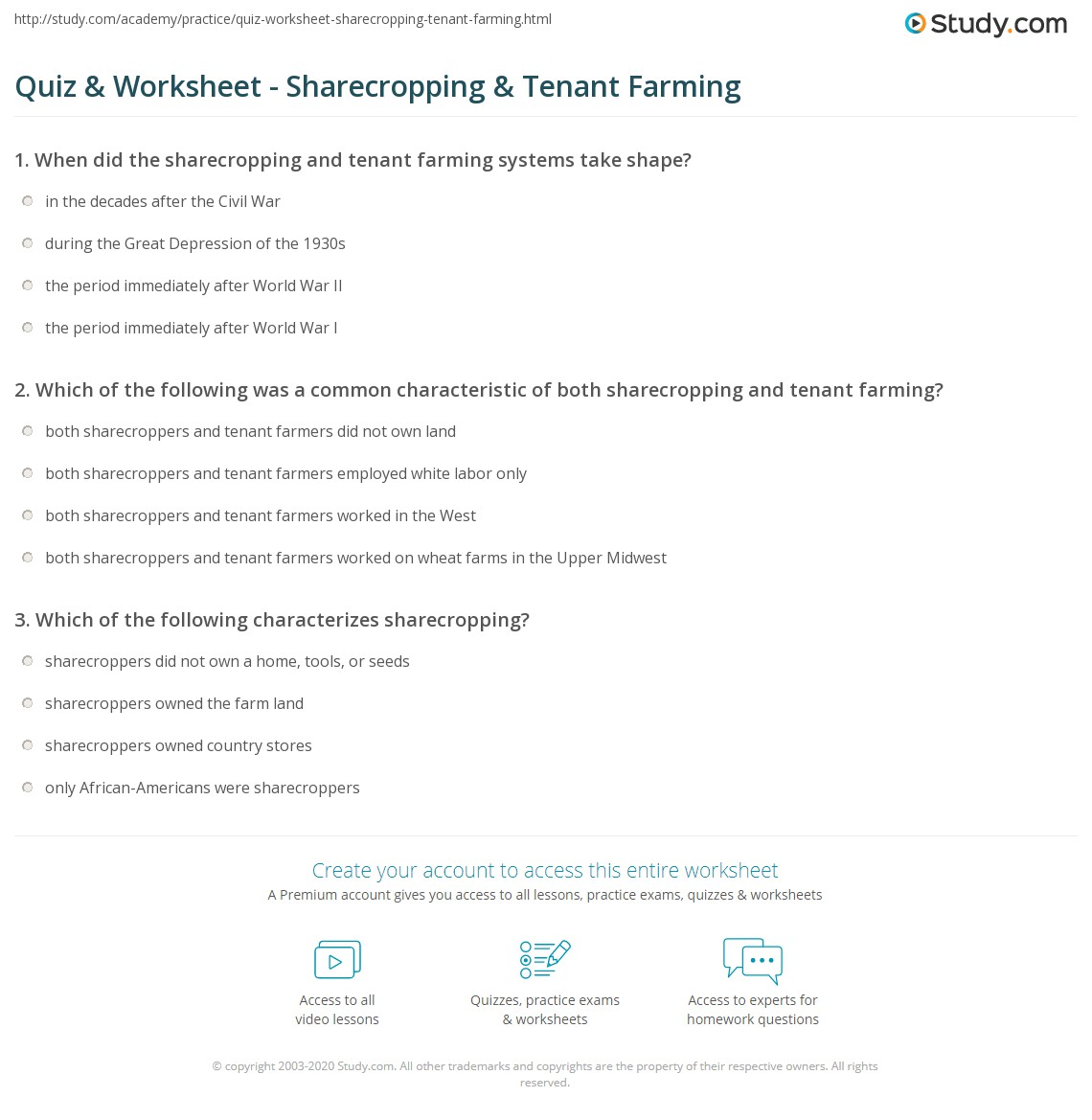 quiz worksheet sharecropping tenant farming study com