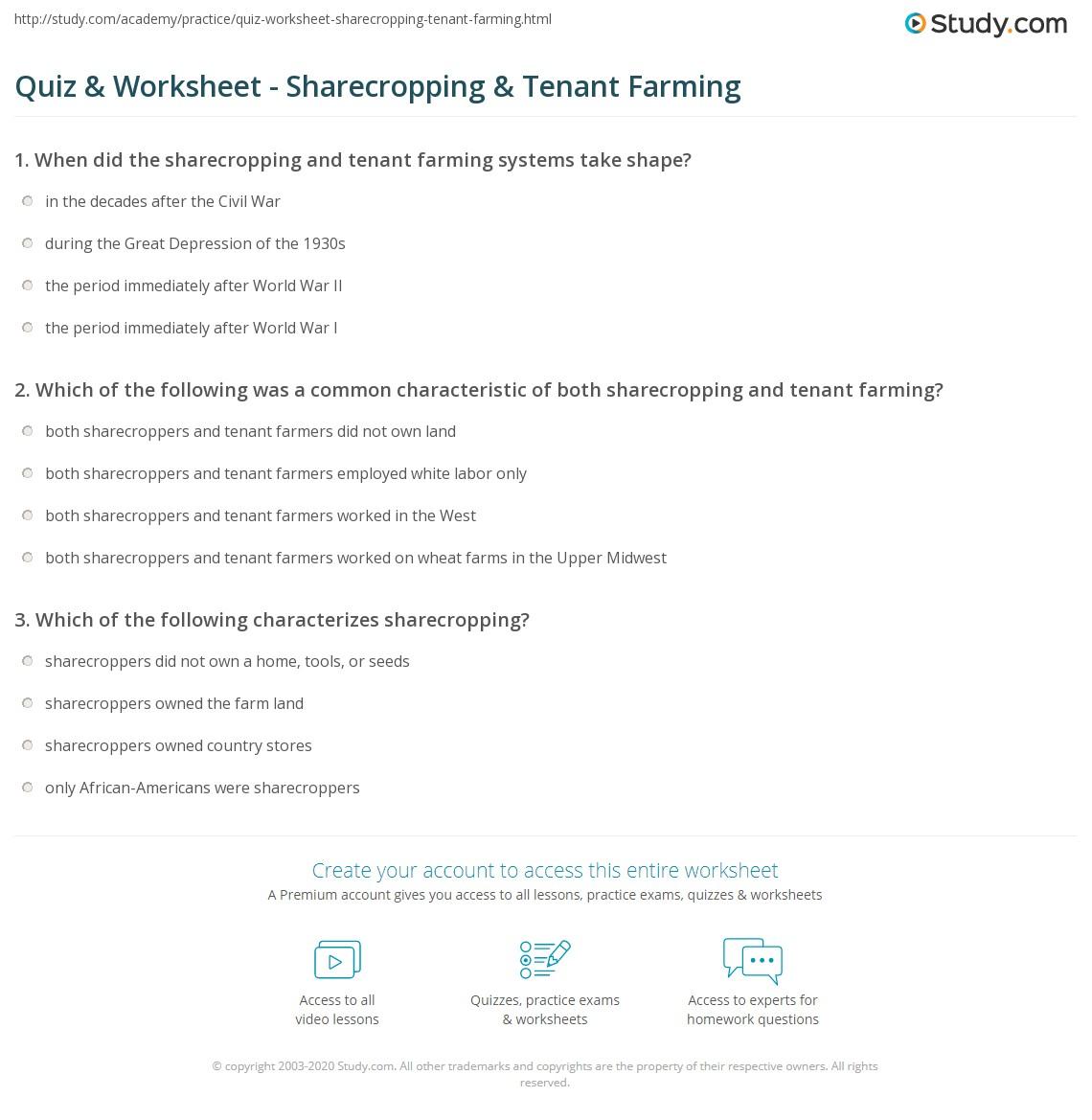 Quiz & Worksheet - Sharecropping & Tenant Farming   Study.com