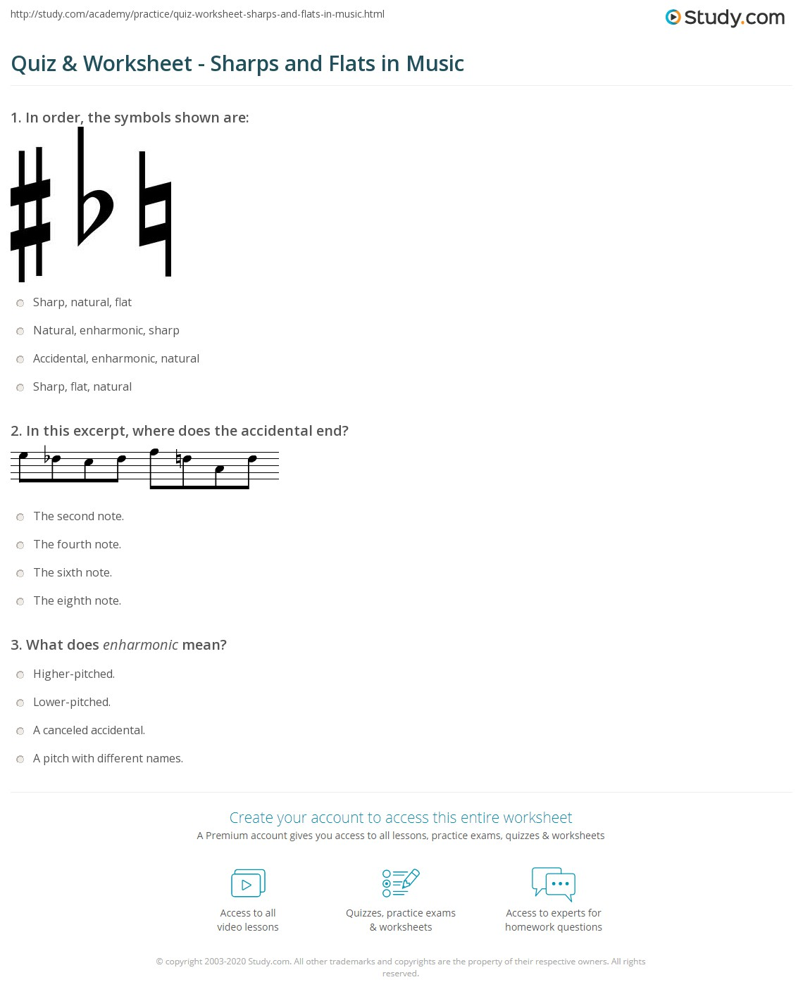 Quiz Worksheet Sharps and Flats in Music – Middle School Music Worksheets