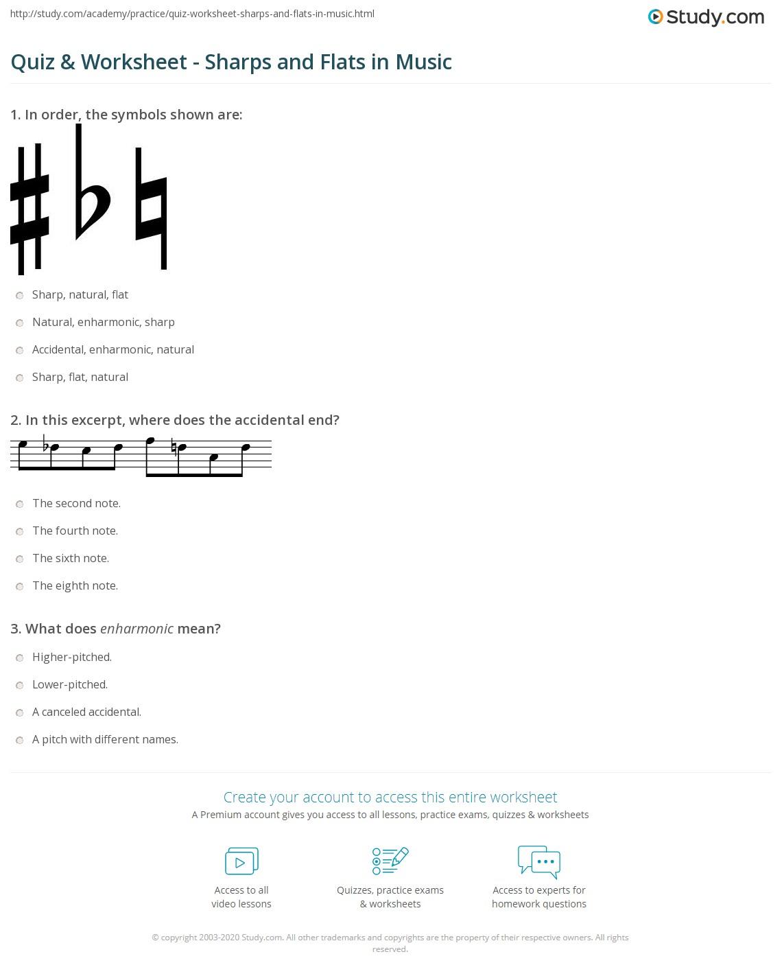 quiz u0026 worksheet sharps and flats in music study com