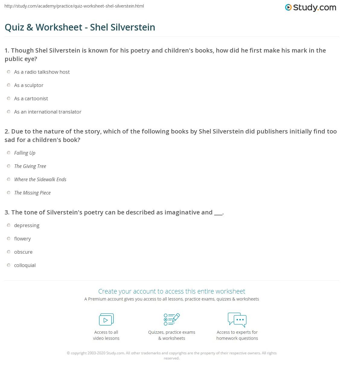 worksheet Shel Silverstein Worksheets quiz worksheet shel silverstein study com print biography poems books worksheet